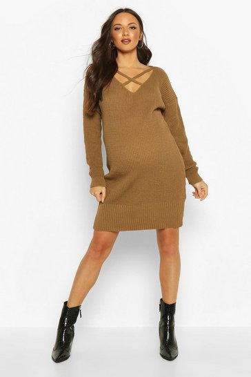 Womens Camel Maternity Cross Front Jumper Dress