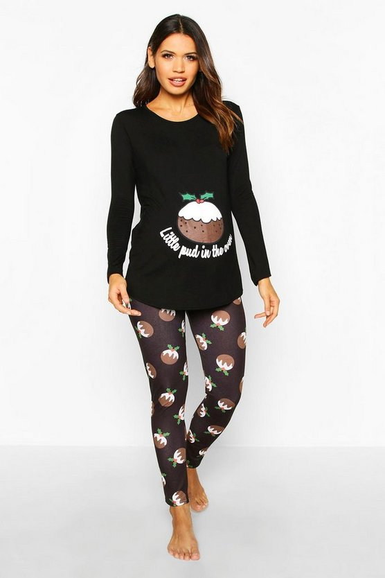 Black Maternity 'Little Pud In The Oven' PJ Trouser Set