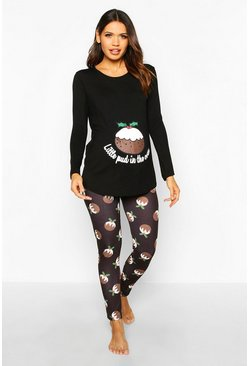 Womens Black Maternity 'Little Pud In The Oven' PJ Trouser Set