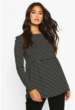 Black Maternity Long Sleeved Stripe Smock Top