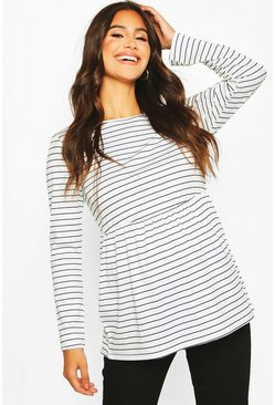 White Maternity Long Sleeved Stripe Smock Top
