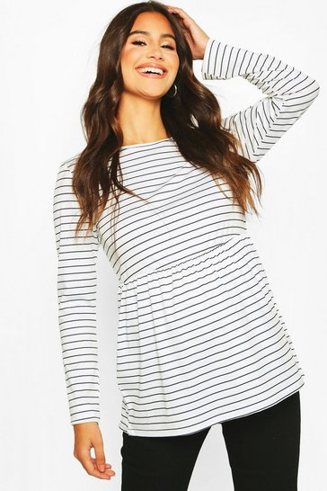 Womens White Maternity Long Sleeved Stripe Smock Top