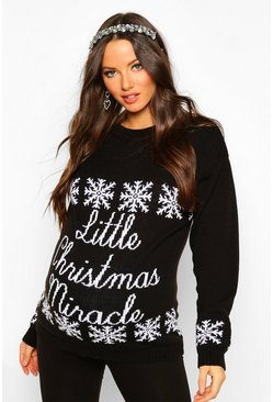 Black Maternity 'Little Christmas Miracle' Xmas Jumper