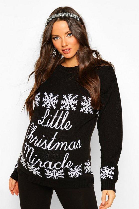 Maternity 'Little Christmas Miracle' Xmas Jumper