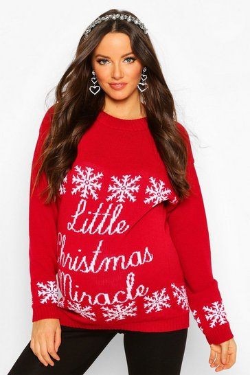 Womens Red Maternity 'Little Christmas Miracle' Xmas Jumper