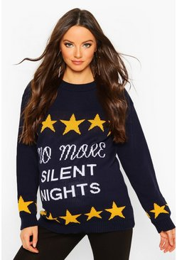 Navy Maternity 'No More Silent Nights' Xmas Jumper