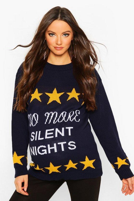 Maternity 'No More Silent Nights' Xmas Jumper