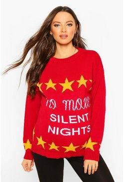 Womens Red Maternity 'No More Silent Nights' Xmas Jumper