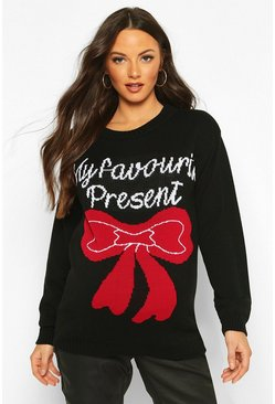 Maternity 'My favourite Present' Xmas Jumper, Black, MUJER