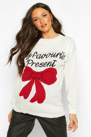 Womens Cream Maternity 'My favourite Present' Xmas Jumper