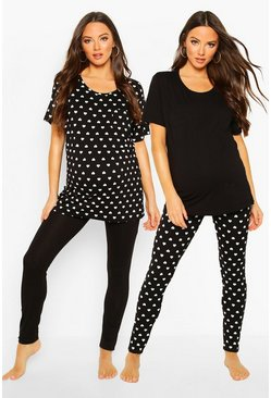 Womens Black Maternity Heart Print 2 Pack PJ Set
