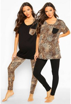 Womens Black Maternity Leopard Print 2 Pack PJ Set