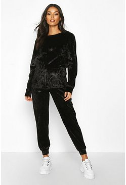 Womens Black Maternity Crew Neck Velvet Lounge Set