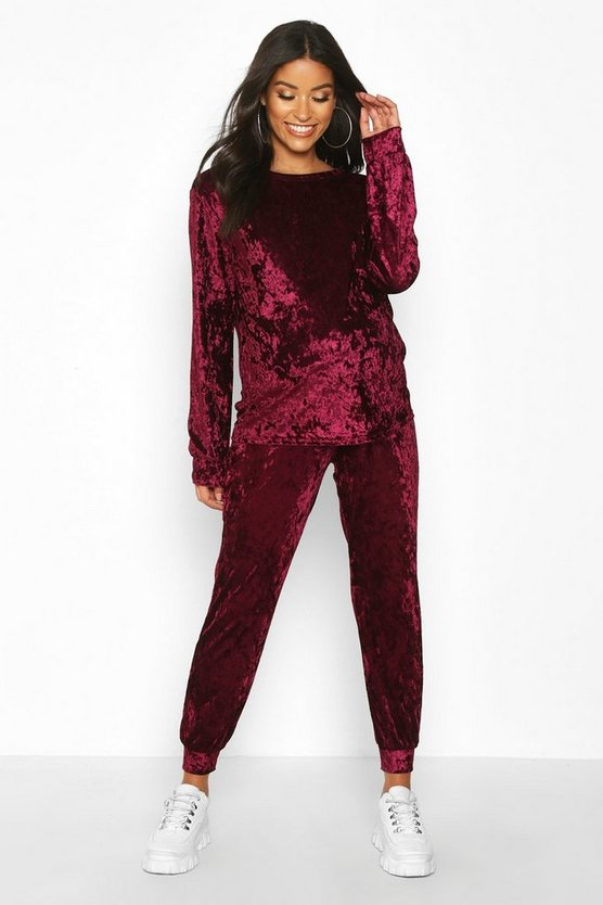 Wine Maternity Crew Neck Velvet Lounge Set
