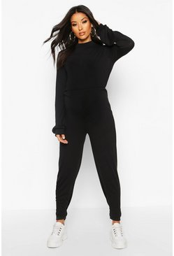 Womens Black Maternity Knitted Lounge Jumpsuit