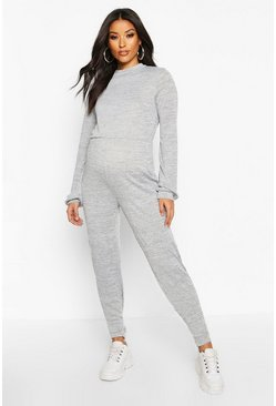 Grey Maternity Knitted Lounge Jumpsuit