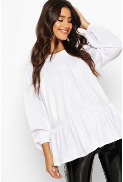 Womens White Maternity Gathered Sleeve Smock Top