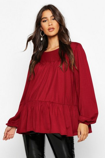 Womens Wine Maternity Gathered Sleeve Smock Top