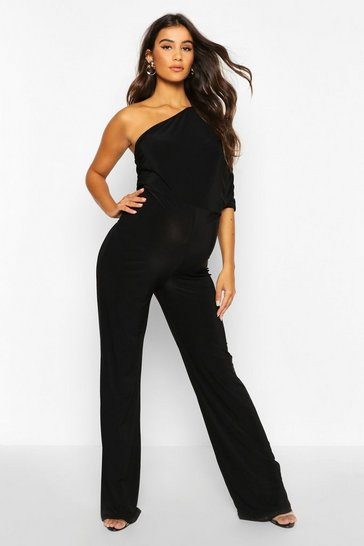 Womens Black Maternity Drape Sleeve Jumpsuit