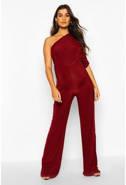 Wine Maternity Drape Sleeve Jumpsuit