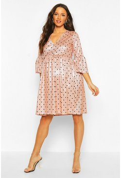 Womens Pink Maternity Glitter Polka Dot Smock Dress