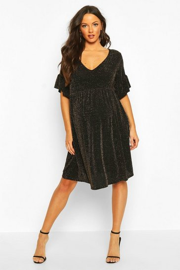 Womens Black Maternity Shimmer Smock Dress