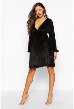 Womens Black Maternity V-Neck Velvet Smock Dress