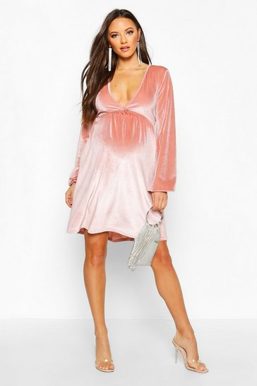 Womens Dusky pink Maternity V-Neck Velvet Smock Dress
