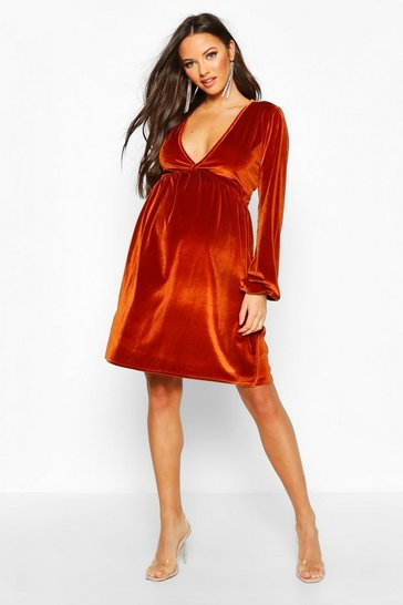 Womens Rust Maternity V-Neck Velvet Smock Dress
