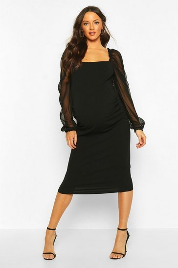 Womens Black Maternity Organza Puff Sleeve Midi Dress