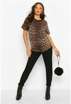 Womens Brown Maternity Leopard Ringer Tee