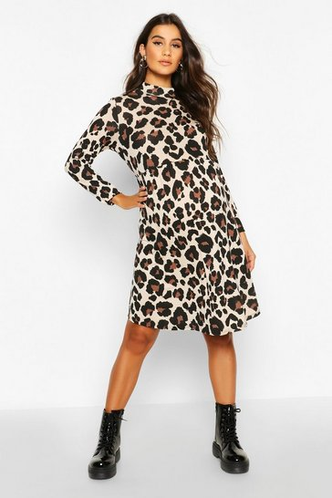 Womens Brown Maternity High Neck Leopard Smock Dress
