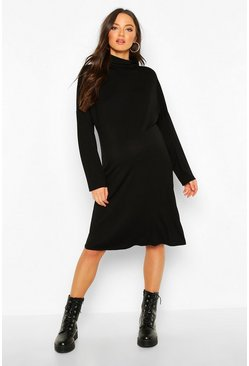 Womens Black Maternity High Neck Long Sleeve T-shirt Dress