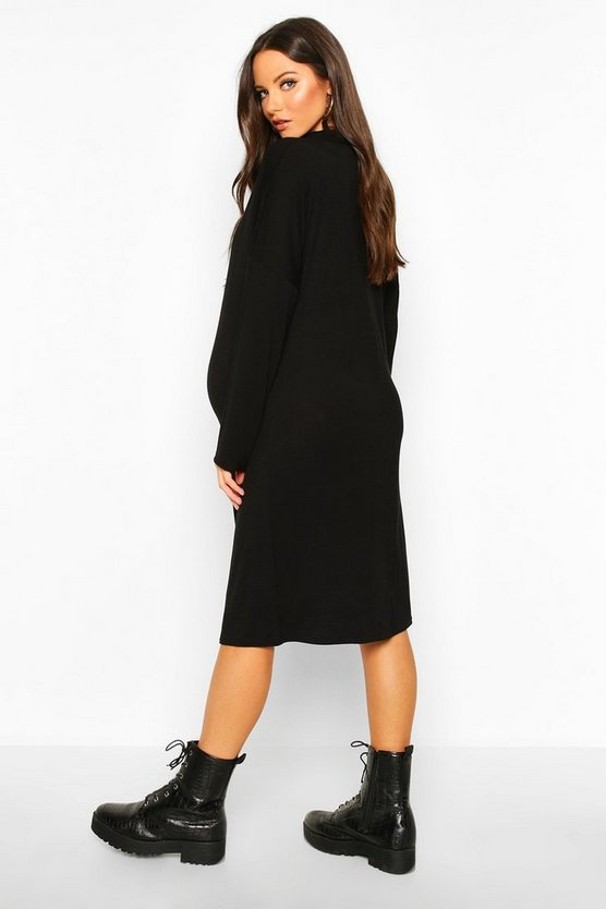 Maternity High Neck Long Sleeve T-shirt Dress
