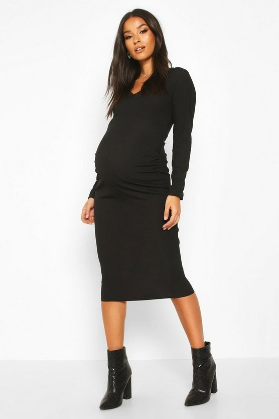 Black Maternity V-Neck Lace Trim Midi Dress