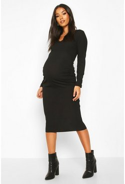 Womens Black Maternity V-Neck Lace Trim Midi Dress