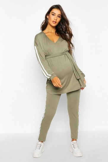 Womens Khaki Maternity V Neck Tie Waist Lounge Set