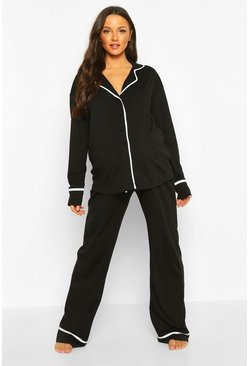 Womens Black Maternity Pipe Detail PJ Set