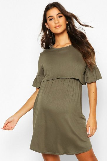 Womens Khaki Maternity Nursing Smock Dress