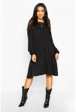 Black Maternity Long Sleeve Tiered Smock Dress