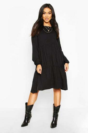 Womens Black Maternity Long Sleeve Tiered Smock Dress
