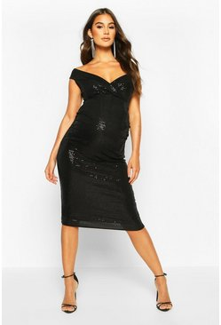 Off The Shoulder Sequin Midi Bodycon Dress, Black, MUJER