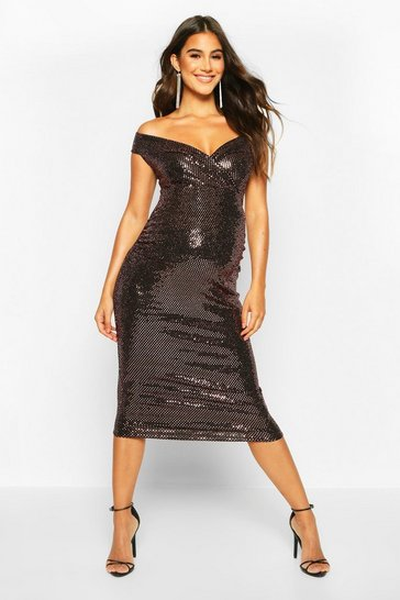 Womens Bronze Off The Shoulder Sequin Midi Bodycon Dress