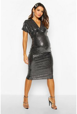 Womens Silver Maternity Batwing Stretch Sequin Midi Dress