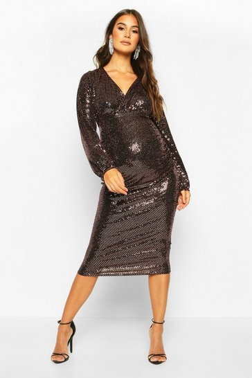 Womens Bronze Maternity Stretch Sequin Wrap Dress