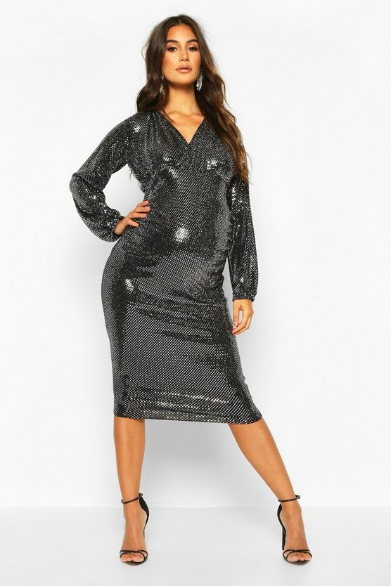 Silver Maternity Stretch Sequin Wrap Dress