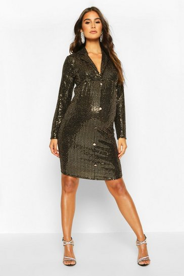 Womens Gold Maternity Stretch Sequin Blazer Dress