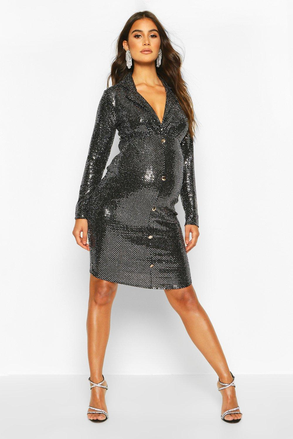 Vintage Maternity Clothes History Womens Maternity Stretch Sequin Blazer Dress - grey - 12 $18.00 AT vintagedancer.com