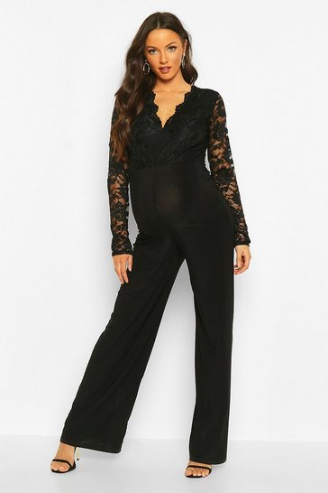 Womens Black Maternity Lace Wide Leg Jumpsuit