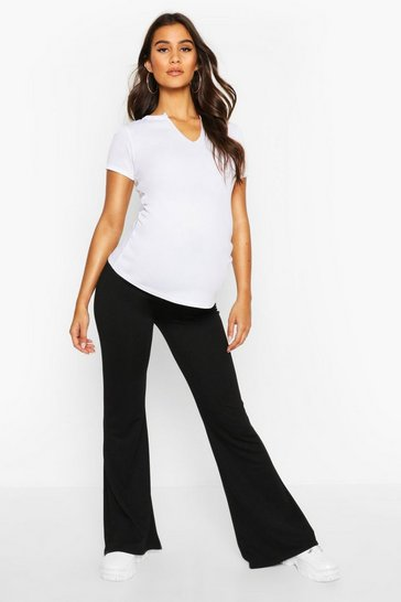 Womens Black Maternity Kick Flare Trouser